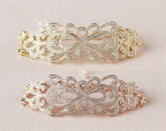 Rose Gold Bridal Bracelet, Dainty Wedding bracelet, Bridal Earrings, Filigree crystal Bridal Bracelet, Vintage style, Katilee Bridal Jewelry