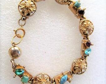 Vintage Multi Color Rhinestone & Cabochon Bracelet, Gold Tone Bracelet