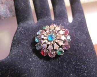 Vintage Multi Color Stone Flower Pin Brooch Gold Tone Rhinestone Brooch