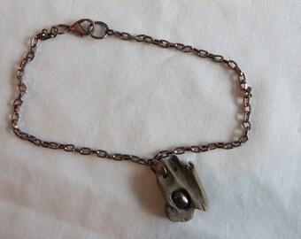 "9 1/2"" Driftwood Anklet, anklet, driftwood, bronze, chain"