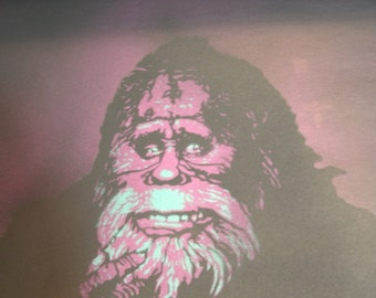 Purple/Green Harry & the Hendersons Original Handcut Stencil Painting on Construction Paper 9 x 12
