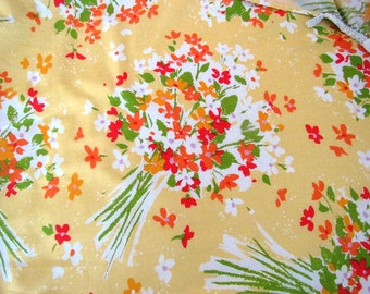 Vintage Yellow Orange Floral Twin Sheet Fitted