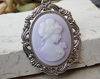 Cameo Necklace, Soft Purple Necklace, Cameo Pendant, Pastel Colors Jewelry,Lady Cameo Necklace,Victorian Style,Cameo Necklace Set,Classics