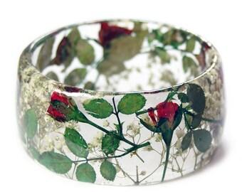 Red Rose Bracelet- Rose Bangle- White Flower Jewelry-  Bracelet- Resin Jewelry- Flower Resin Jewelry- Flower Bangle- Red Resin Bracelet
