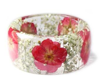 Rose Jewelry- Rose Bracelet- White Flower Jewelry- Modern Flower Child- Resin Jewelry- Flower Resin Jewelry- Flower Bangle