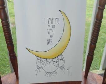 Moon Watercolor Sketch
