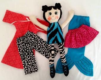 Macy Mermaid Rag Doll & Clothes