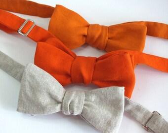 Linen Bow Ties - Mens - plain colors - self tie - Wedding bowties - Groomsmen - freestyle bowties / self tie, mens adjustable - Bagzetoile