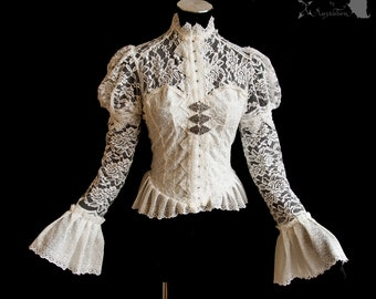Victorian inspired blouse, pale ivory, off white, Somnia Romantica, approx size small - medium, see item details for measurements