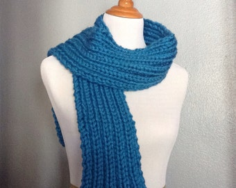 Bright Blue Scarf, Blue Knit Scarf, Chunky Knit Scarf, Long Scarf, Womens Scarf, Mens Scarf, Ribbed Knit Scarf, Chunky Knit