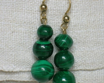 Malachite Bead Earrings, Gold Filled. 1990s Drops for Pierced Ears