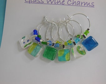 Party Wine Charms - Blue Green Glass Charms - Turquoise Lime Aqua Wine Charms - Set of Six - Wine Charms Made by Pillowscape Designs - Gift