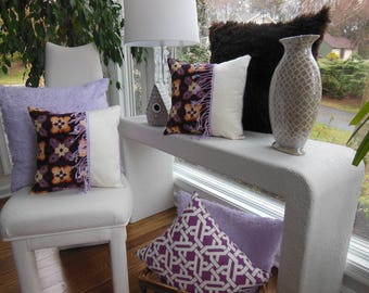 Ikat Pillow - Purple Pillow - Brown Pillow - 15 x 15 inch Reversible -  Shades of Purple Ikat Design Pillow - 16 x 16 Insert Included