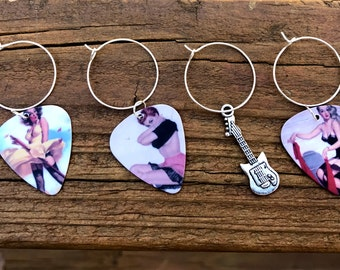 Sexy, unique and funky pin up girl guitar picks wine glass charms Axe Six-String, Lady.....Set of 6