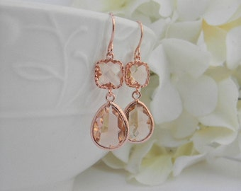 Rose Gold Earrings - Champagne Earrings - Rose Gold Bridesmaid Earrings -  Wedding  Earrings - Bridesmaid Gift - Dangle Earrings - Gift Idea