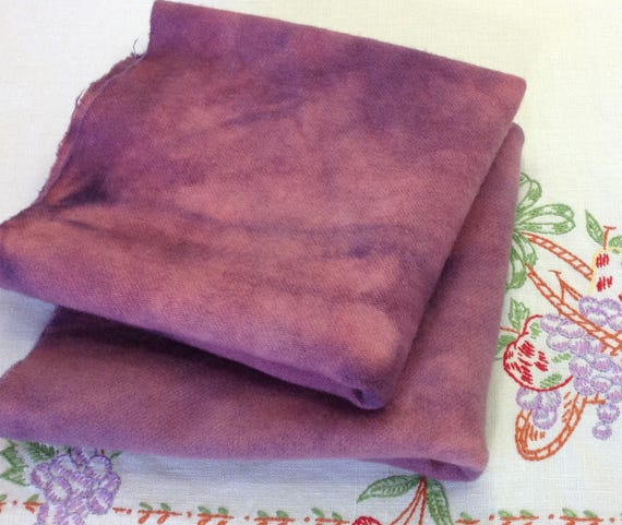 2) Fat Quarters, Red Grape Purple, Hand Dyed Wool Fabric for Rug Hooking & Applique, , W337, Red Purple, Mottled Purple Red