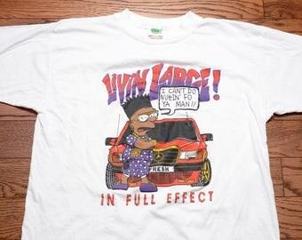 vintage 90s Simpsons t-shirt 1990 bootleg black Bart Simpson tee shirt Livin' Large In Full Effect fresh hip hop street style XL