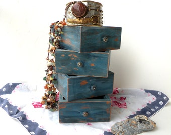 4 Rustic Wood Boxes Antique Turquoise Distressed Storage Shabby Chic Cottage Decor Business Card Holder Wedding Boxes Bathroom Storage