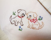 Vintage Puppy Dogs Kitchen Towel, Hand Embroidered Kitchen Towel, Embroidery Towel