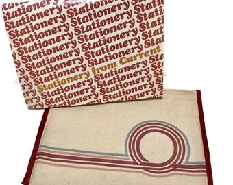 Vintage 1980s Current Inc. Voyager Stationery and Muslin Portfolio, modernist design, complete, 18 envelopes, 36 sheets in ivory grey rust