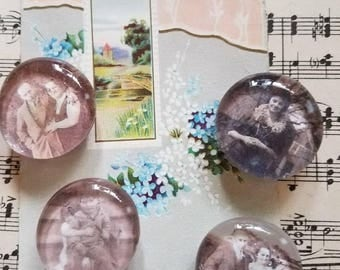 Set of 4 glass bubble magnets with vintage black and white images