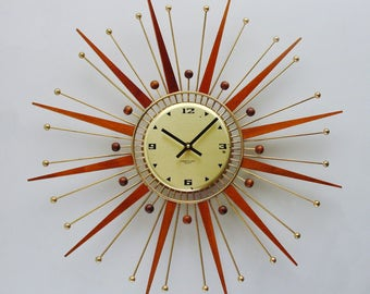 Starburst Clock, Sunburst Wall Clock by Westclox, Mid Century Modern Starburst clock, Atomic era