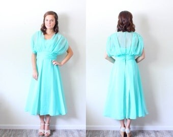 30% OFF VALENTINES SALE Vintage Small // Sea foam green // 50's // turquoise light blue dress // sheer top // a-line dress // Wedding guest