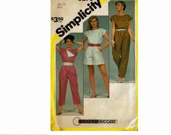80s Jumpsuit Romper Capri Playsuit Uncut Sewing Pattern Overnight Success Size 10 Bust 32 1/2 Simplicity 6276 1980s Asymmetric front