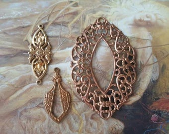3 Exceptional Openwork Vintage Old Brass Deco Filigree Connector Drop Pendants