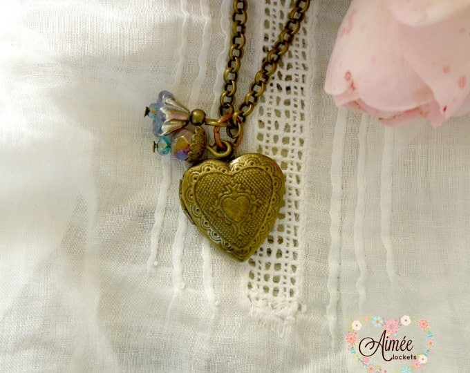 heart locket, personalized locket, antique bronze heart locket, brass locket, photo locket, charm locket, children's locket, bridesmaid