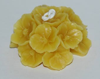 Beeswax Pansy Candle ~ Beeswax Violet Candle ~ Beeswax Flower Cluster Candle ~ Johnny Jump Up Candle ~ Pure Beeswax Candle