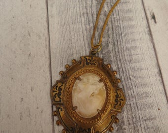 "Lovely Antique Carved Shell Cameo in Antique Brass Setting on 17"" Snake Chain, Vintage Carved Cameo Pendant, Pendant and Chain, Shell Cameo"