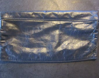 navy leather vintage clutch purse buttery soft leather purse