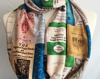 Literary Gifts, Book Print, Book scarf, Literature scarf, Literary Scarf, By Rooby Lane,Gift forsook loversr, SPECIAL OFFER
