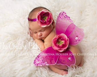 Hot Pink & Light Pink Sequin and Crystal Accents Wing and Headband Photo Prop Set 1st photos Preemie Newborn