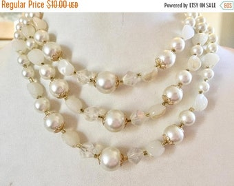 SPRING SALE Vintage Shabby Chic White Glass Beaded Three Strand Necklace