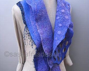 Hand felted sculptural scarf, outstanding artistic handmade shawl, bohemian style accessory, lilac reversible art scarf,  cosy collar