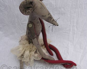 Handmade fabric doll, animal doll, soft art doll, art doll, textile doll, handmade doll, home decoration, sturdy stuffed handsewn linen doll