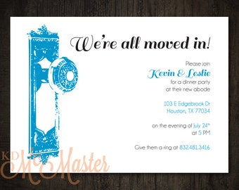 Housewarming Party Invitation Vintage Doorknob Couples New Home Personalized Digital Download Print-It-Yourself Customized Party Invitation