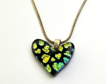 Dichroic Heart Pendant Green Gold Hearts on Black Glass Necklace
