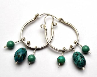 Sterling Silver Textured Hoop Earrings with Turquoise Bead Dangles