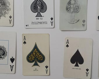 21 vintage Ace playing cards | ace of spades | instant collection of aces | supplies | collage supplies | ATC supplies | DIY business cards