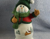 RESERVED FOR CARY - Old Fashion Ceramic Snowman hand painted with a cabin scene on her tummy and decked out in her best scarf and mittens