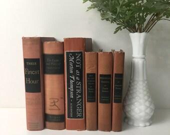 Decorative book stack - shades of terra cotta - vintage book decor