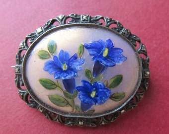 On Sale Painted Reverse Glass Flower Antique Brooch 800 Silver Marcasite Pin Setting