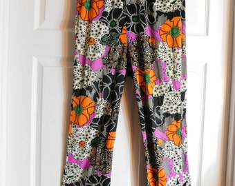 Original 1960's 70's Psychedelic Rock and Roll Ladies Pants Floral Print
