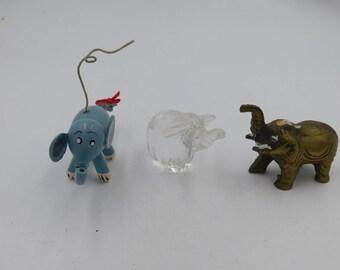 Three Vintage Miniatures Mini Elephants Shelf Sitters or Curios