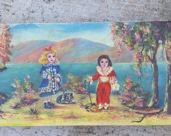 vintage small oil painting by Vivi