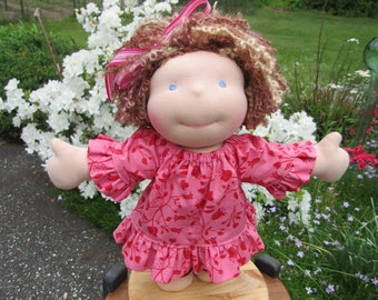 """Waldorf Doll - 15"""" Girl - Ready to ship, Short curly hair and blue eyes"""