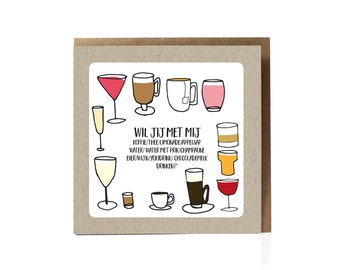 Valentine's Day Card, Also Available in English: Would you like to have a drink with me, dating card, funny cards for men, funny love card